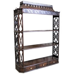 Antique Wooden Chinese Chippendale Wall Shelf or Hanging Bookshelf with Drawers
