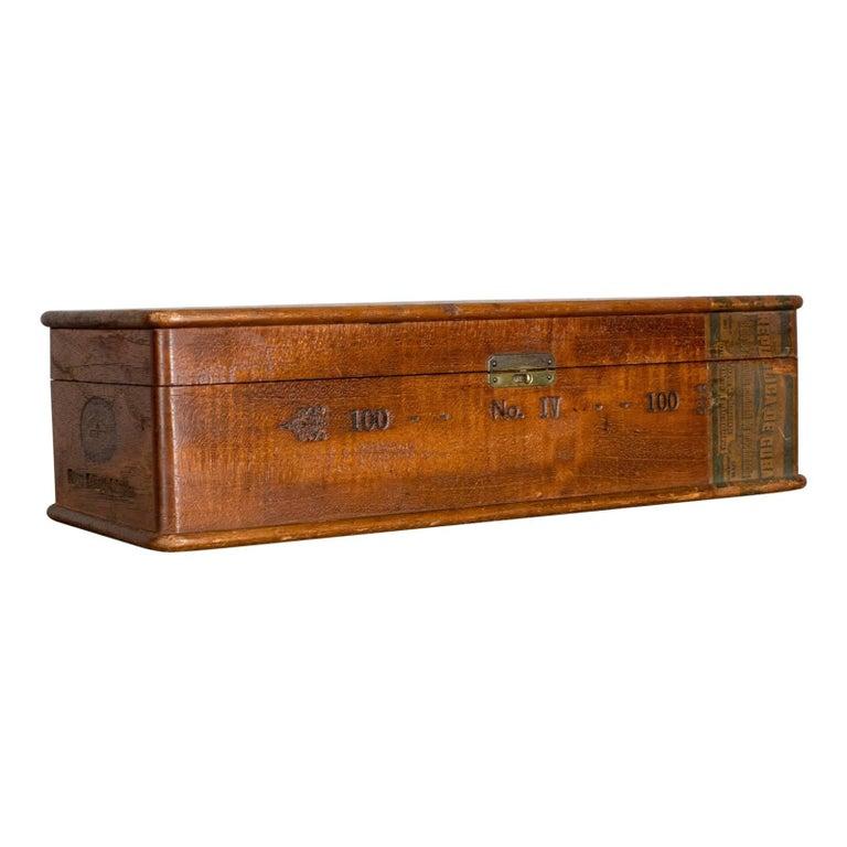 Antique Wooden Cigar Box Hoyo De Monterrey Havana Habana Humidor Circa 1920
