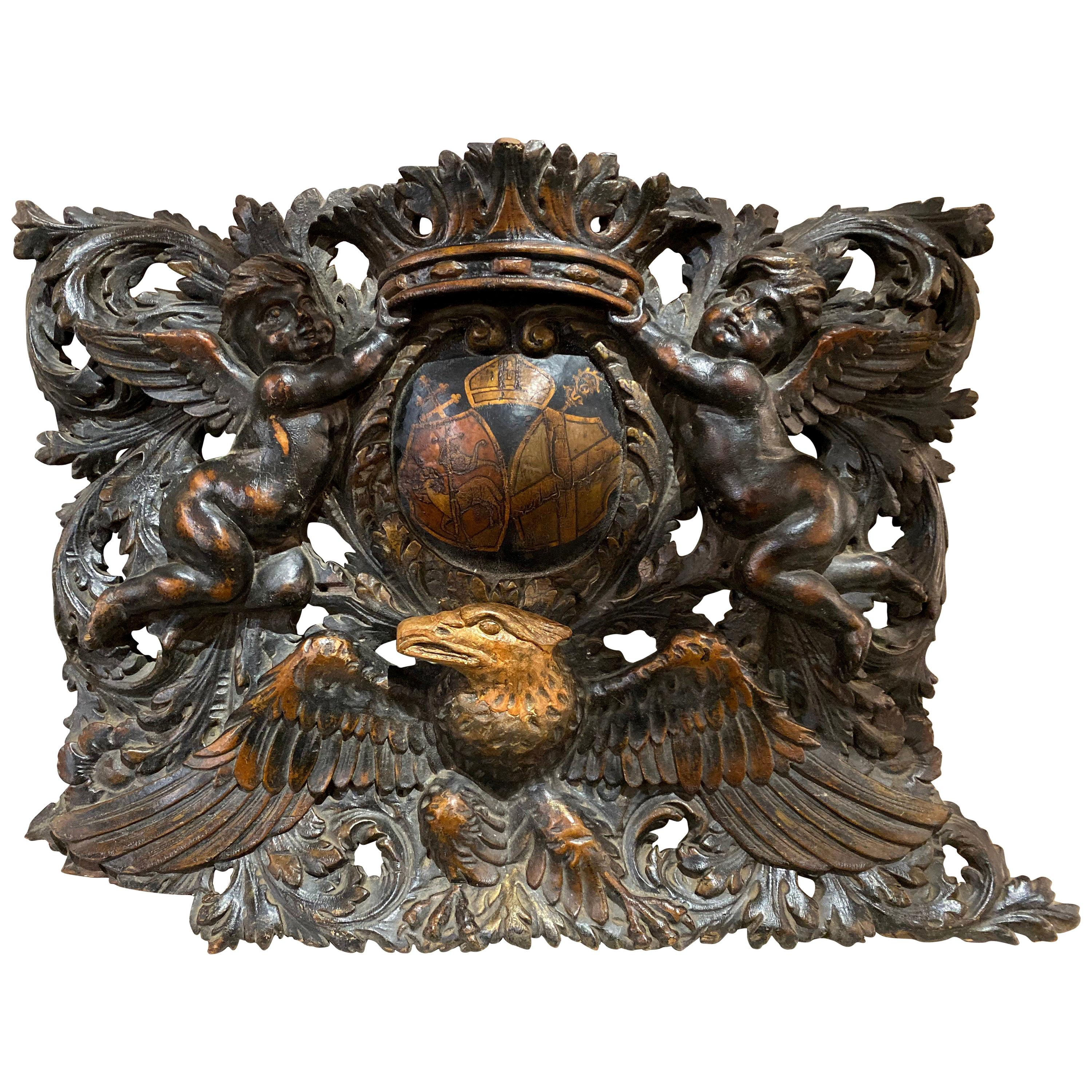 Antique Wooden Crest with Eagle