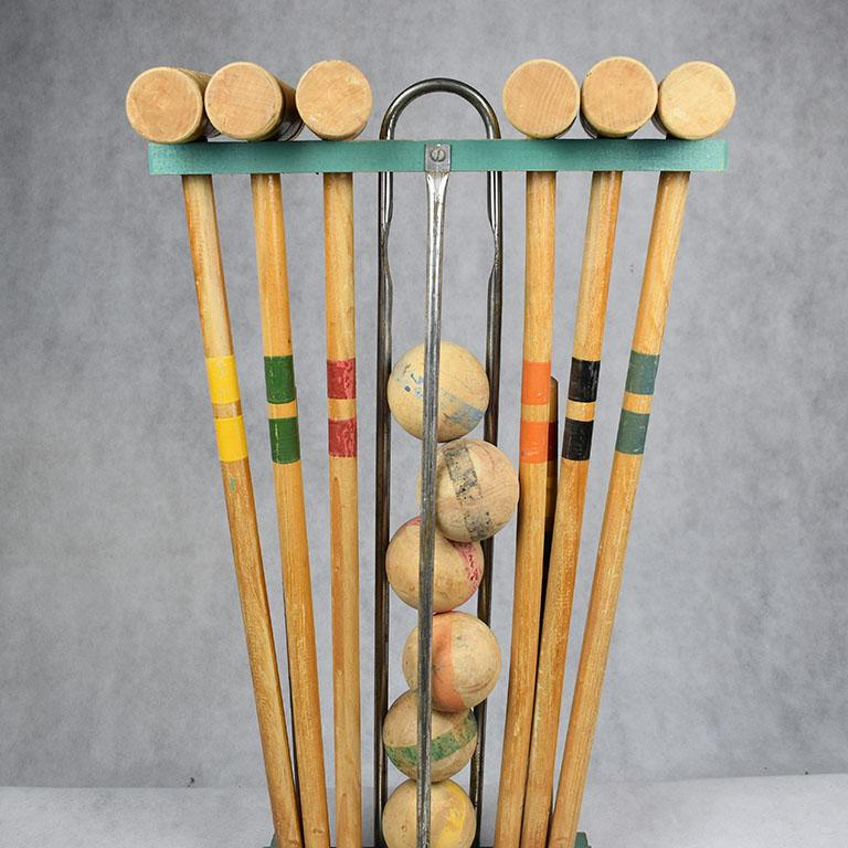 Antique Wooden Croquet Set in Green Yellow Blue Orange Red and Blue In Good Condition For Sale In Oklahoma City, OK