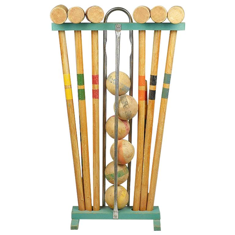 Antique Wooden Croquet Set in Green Yellow Blue Orange Red and Blue For Sale