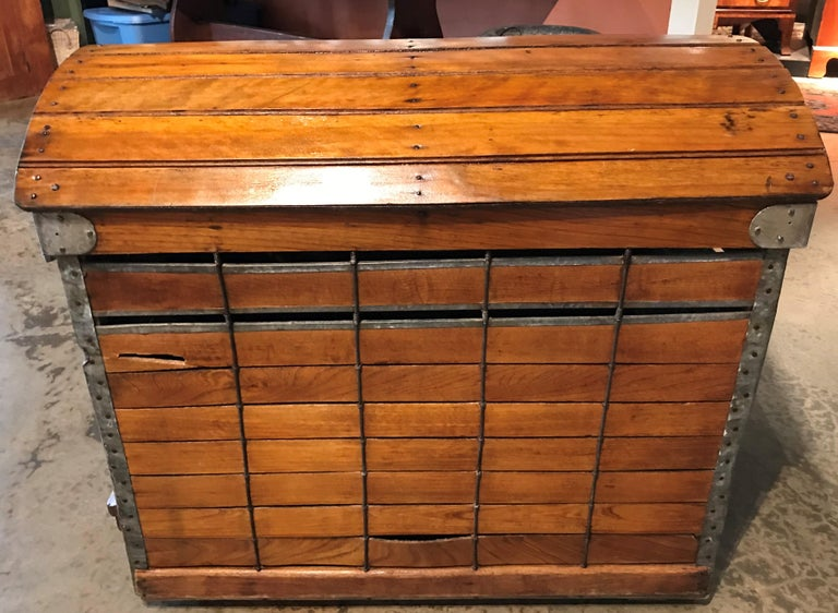 A fabulous antique wooden domed top dog carrier or crate by Absalom Backus Jr & Sons, circa 1902. The carrier has an original brass-encased paper label above front door
