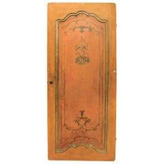 Antique Wooden Door Lacquered and Painted Orange, 1700, Italy