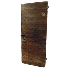 Antique Wooden Door, Nails, Brown Rustic Walnut, 18th Century, Italy