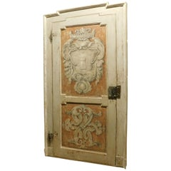 Antique Wooden Door Painted with Frame, Orange White, 18th Century, Italy