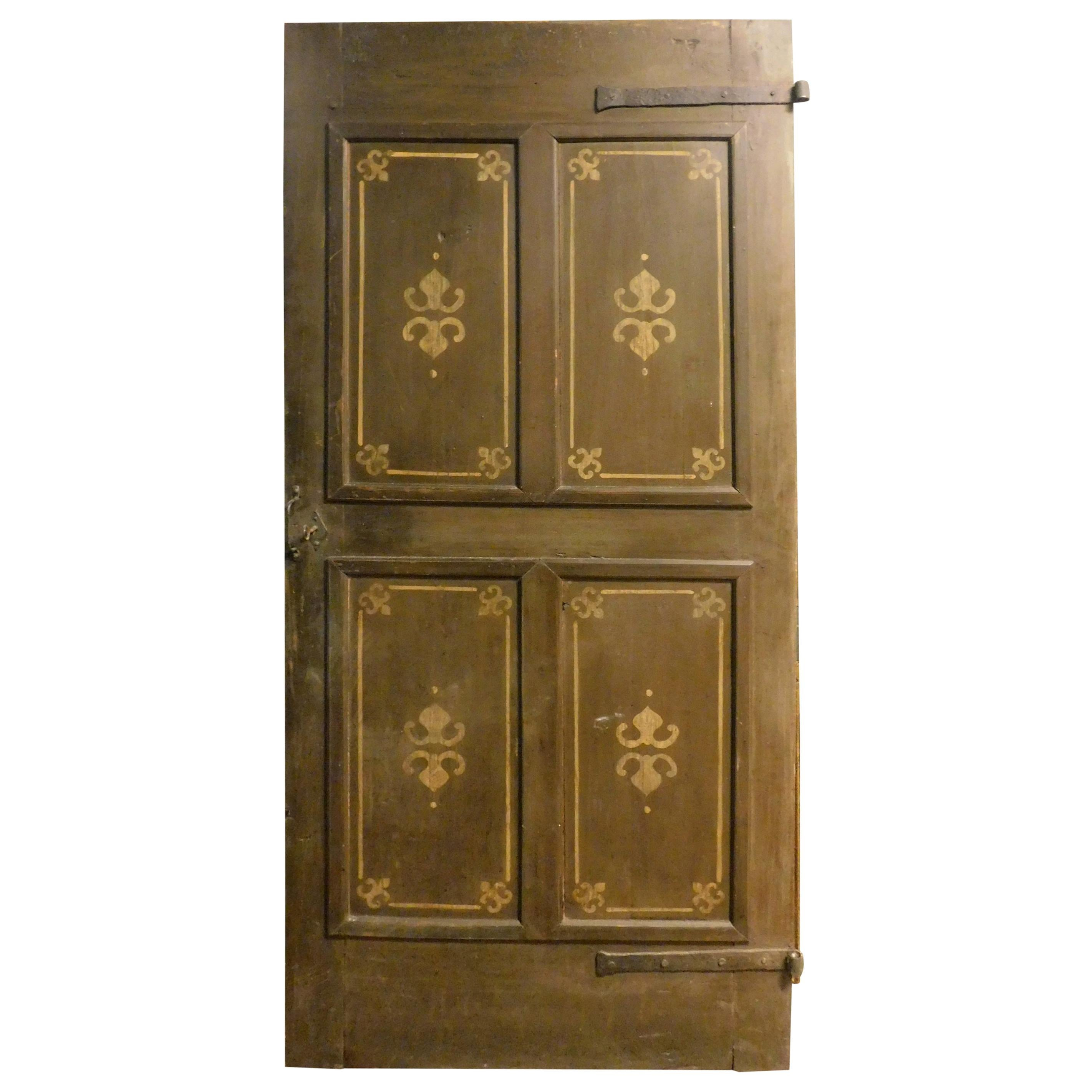 Antique Wooden Door with 4 Painted Panels, Rustic, 19th Century, Italy