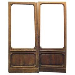 Antique Wooden Door with Glass, Shop Door, 1800, Italy