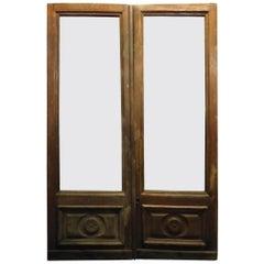 Antique Wooden Doorwith Glass, Shop Door, 1800, Italy