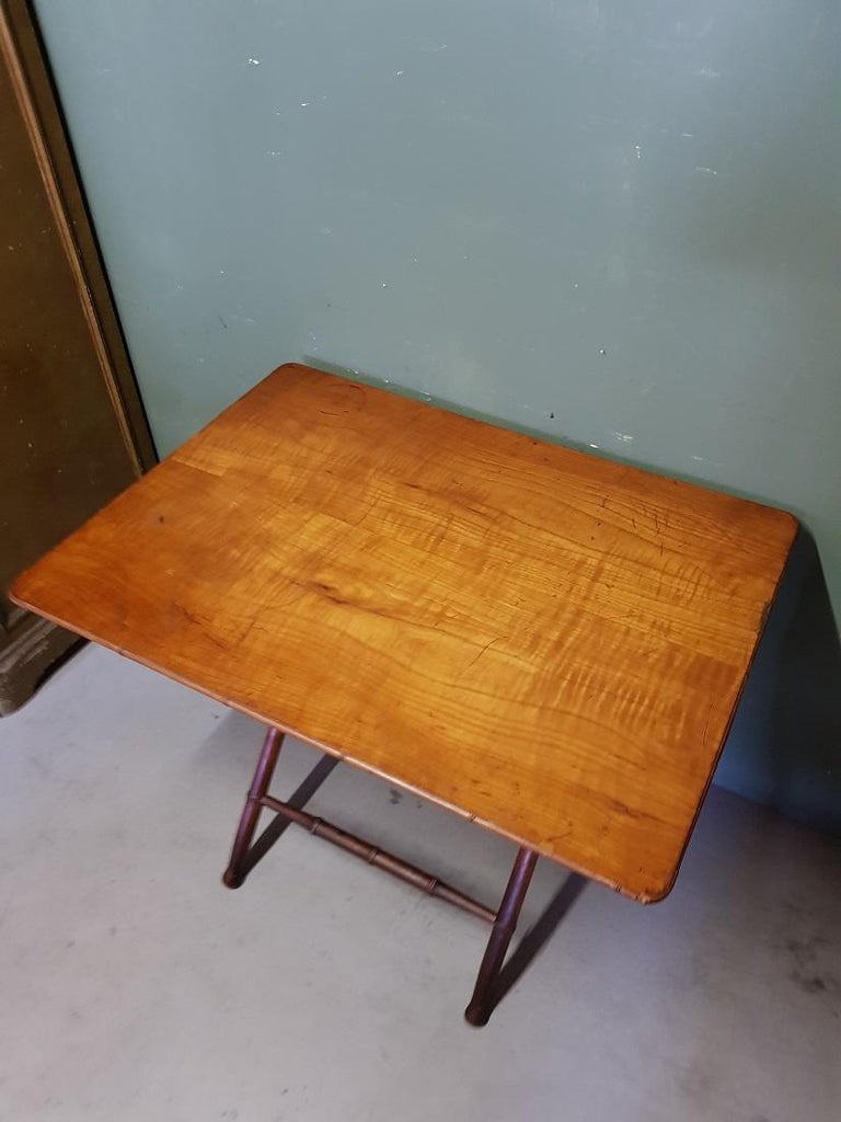 Antique wooden Faux Bamboo folding table with cherry wood top, furthermore in a sturdy condition only the top has some traces of user marks. Originating from the end of the 19th century.  The measurements are, Depth 64.5 cm/ 25.3 inch. Width