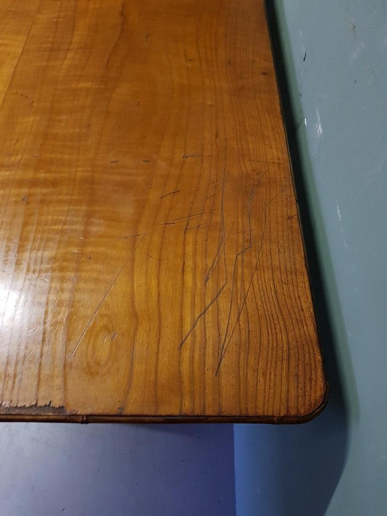 Antique Wooden Faux Bamboo Folding Table with Cherry Wood Top In Good Condition For Sale In Raalte, NL