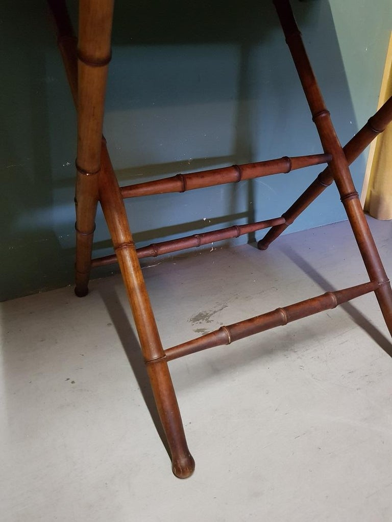 19th Century Antique Wooden Faux Bamboo Folding Table with Cherry Wood Top For Sale