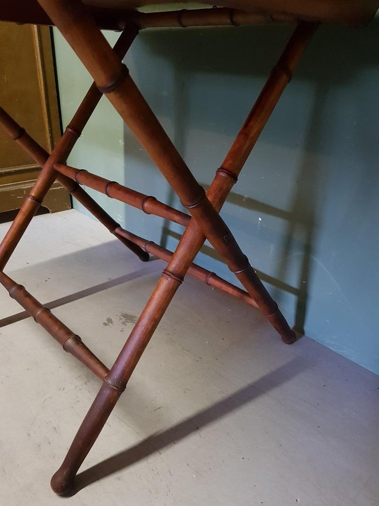Antique Wooden Faux Bamboo Folding Table with Cherry Wood Top For Sale 1