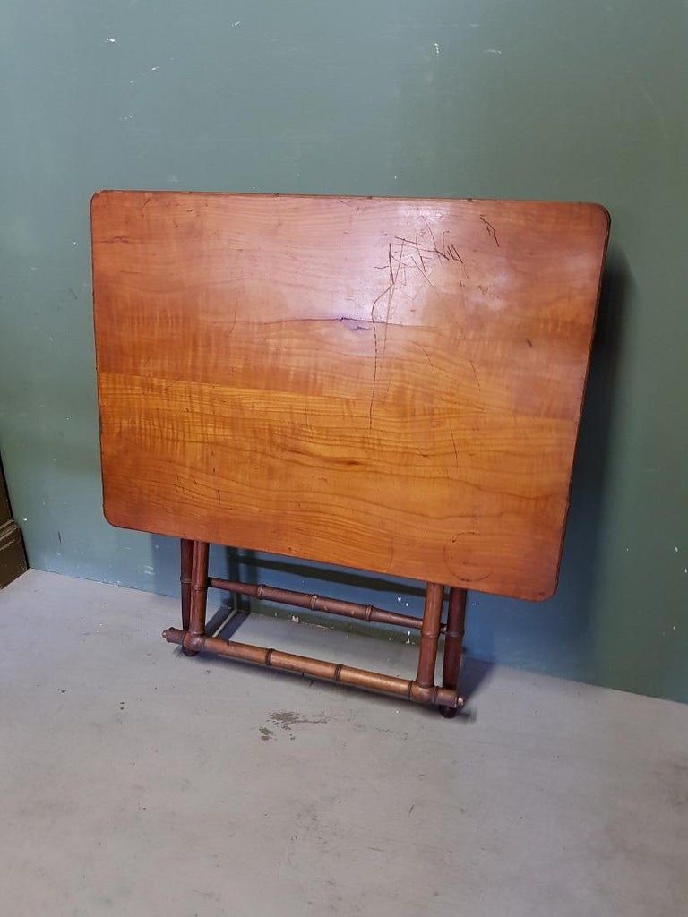 Antique Wooden Faux Bamboo Folding Table with Cherry Wood Top For Sale 2