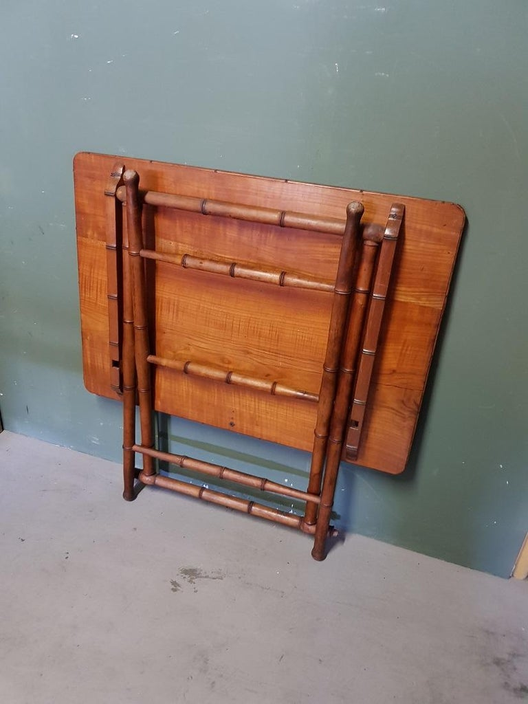 Antique Wooden Faux Bamboo Folding Table with Cherry Wood Top For Sale 3