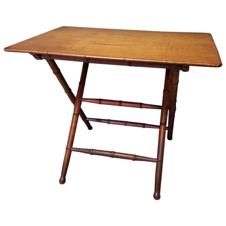 Antique Wooden Faux Bamboo Folding Table with Cherry Wood Top For Sale
