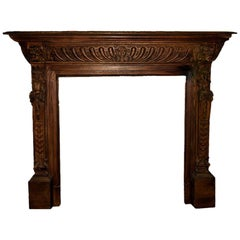 Antique Wooden Fireplace Mantel, 19th Century