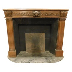 Antique Wooden Fireplace Mantel, Carved with Satyr & Columns, 19th Century Italy