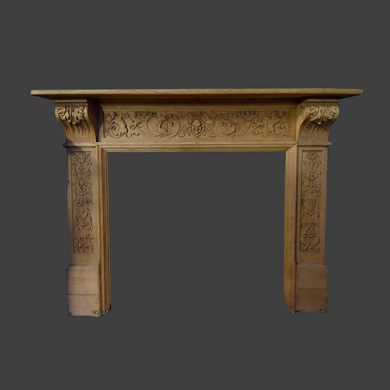A beautiful antique wooden firplace mantel from the 19th century. Comes from France, circa 1900. To place in front of the chimney.