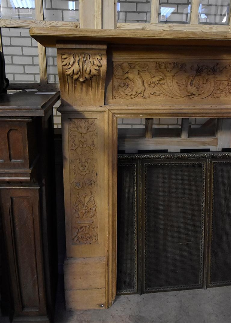 French Antique Wooden Firplace Mantel, 19th Century For Sale