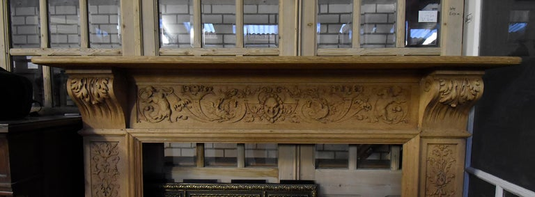 Late 19th Century Antique Wooden Firplace Mantel, 19th Century For Sale