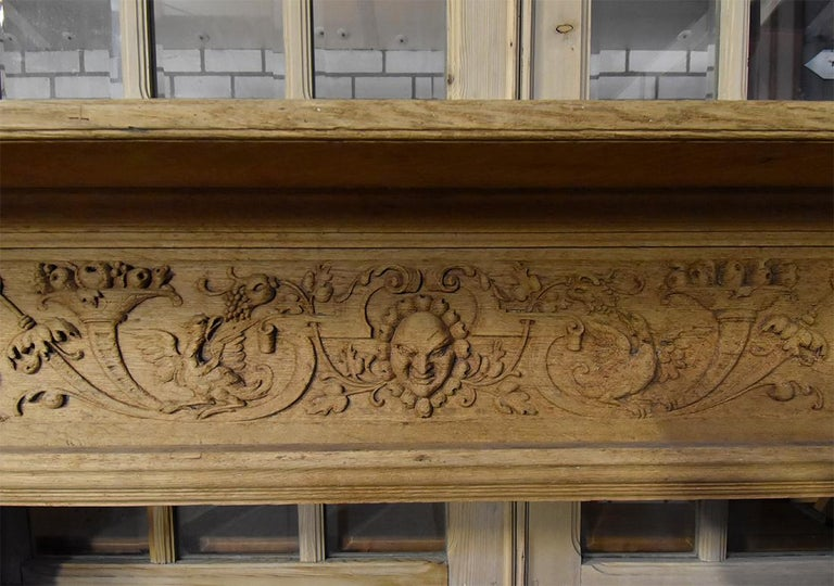 Oak Antique Wooden Firplace Mantel, 19th Century For Sale