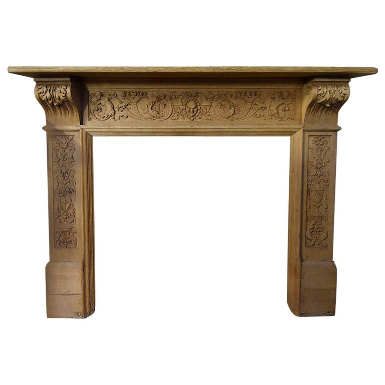 Antique Wooden Firplace Mantel, 19th Century For Sale