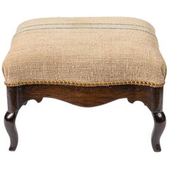 Antique Wooden Footstool Upholstered in Vintage Grain Sack