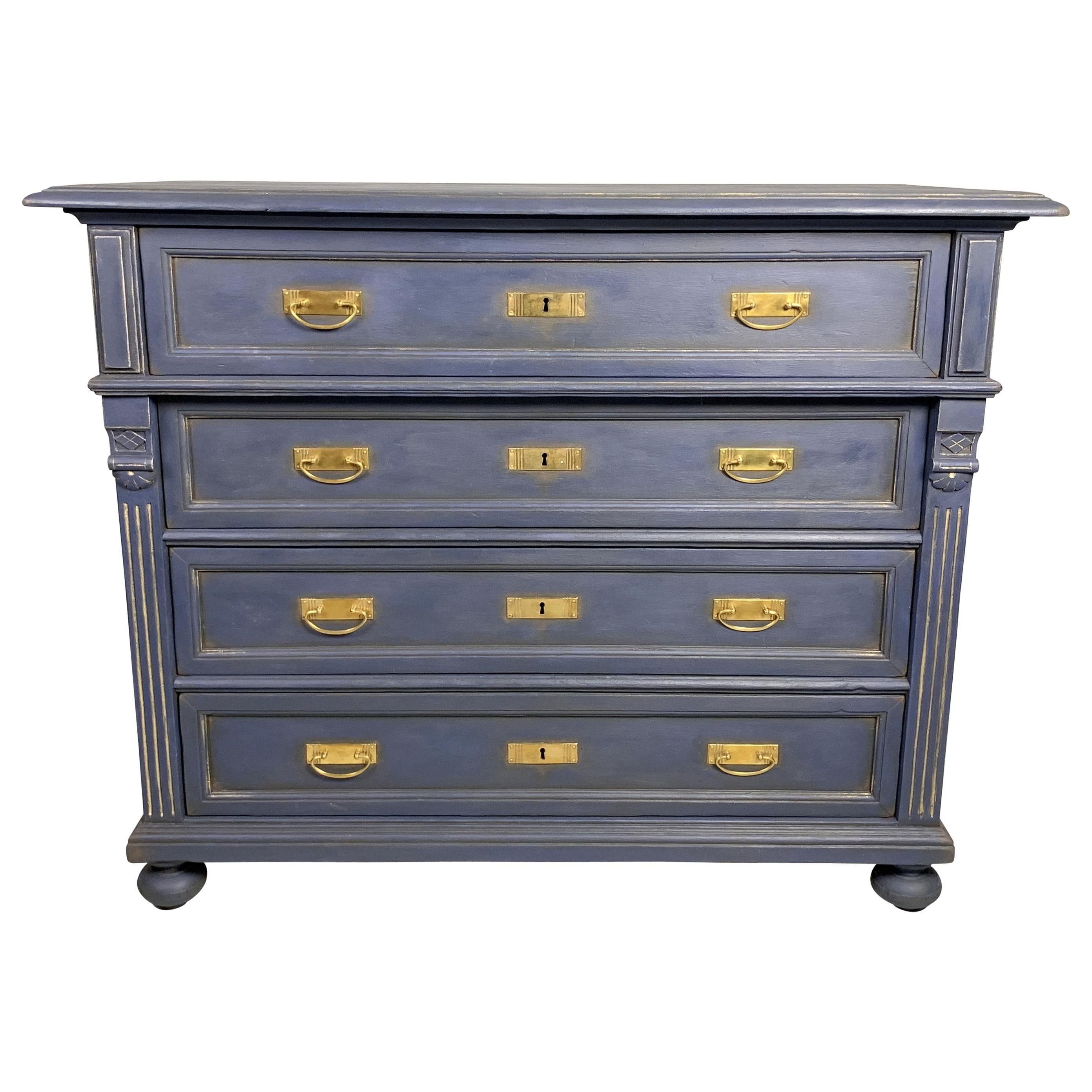Antique Wooden Hand Painted Chest of Drawers, 1900s