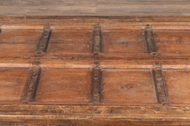 20th Century Antique Wooden Indian Palace Door Made into Coffee Table with Iron Braces For Sale