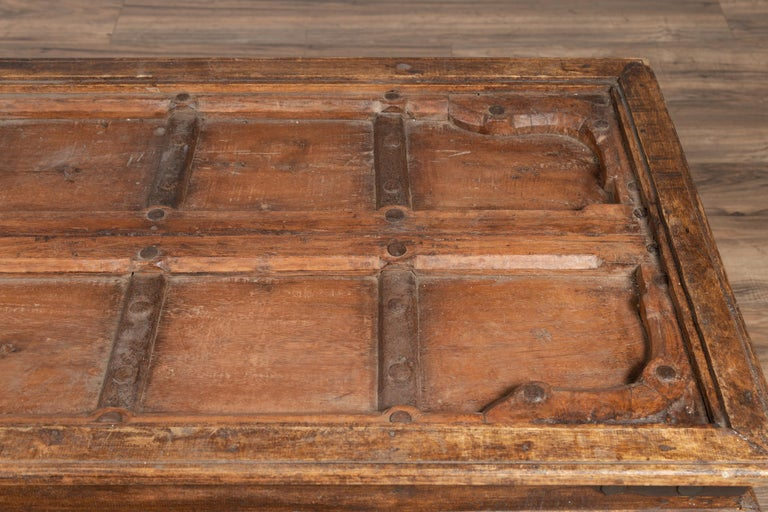 Antique Wooden Indian Palace Door Made into Coffee Table with Iron Braces For Sale 1