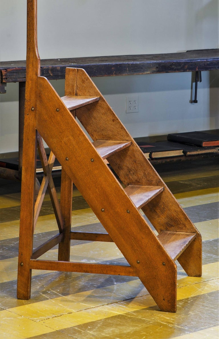 Antique Wooden Library Ladder With Handle For Sale At 1stdibs