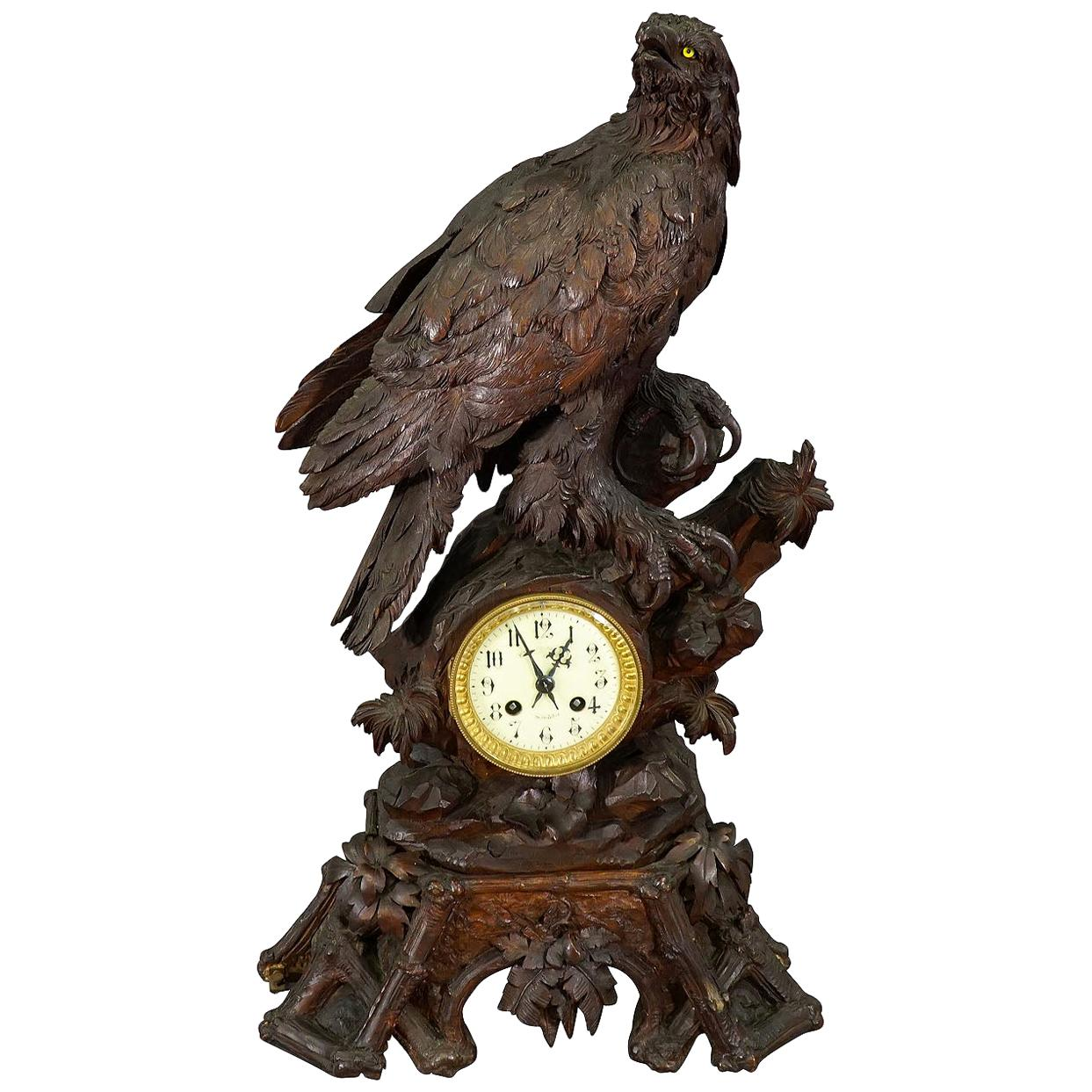 Antique Wooden Mantel Clock with Eagle, Swiss 1900
