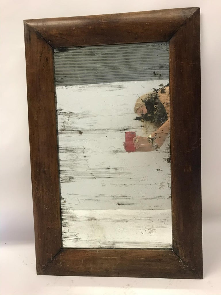 Antique Wooden Mirror with Old Glass In Fair Condition For Sale In Los Angeles, CA