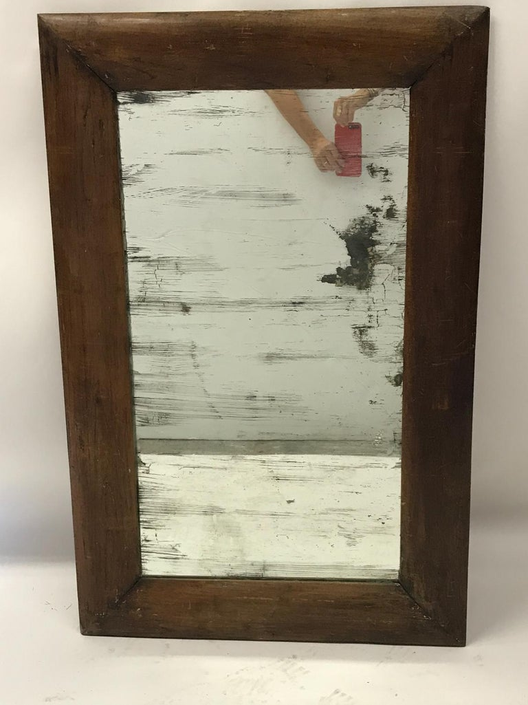 Antique Wooden Mirror with Old Glass For Sale 2