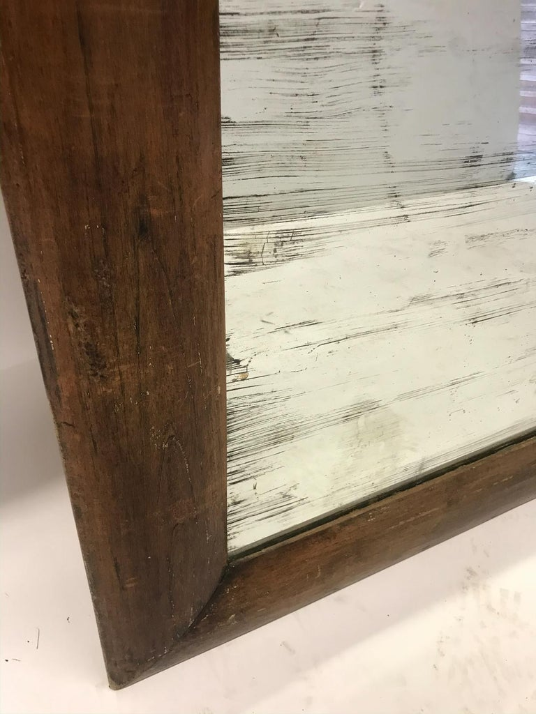 Antique Wooden Mirror with Old Glass For Sale 4