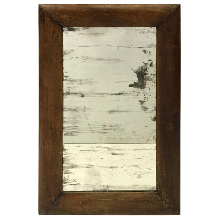 Antique Wooden Mirror with Old Glass For Sale