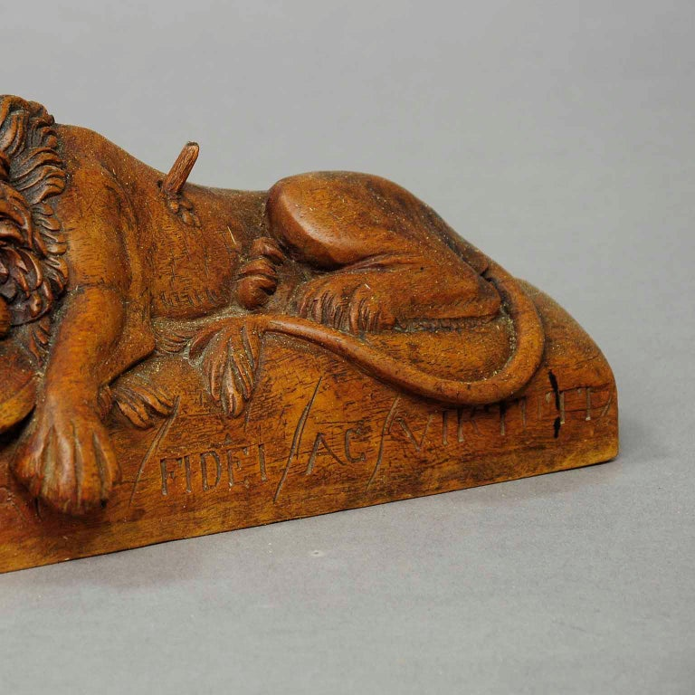 Rustic Antique Wooden Sculpture of the Lion of Lucerne For Sale