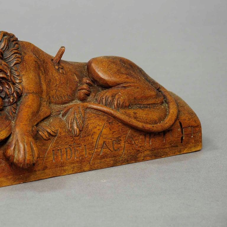 Black Forest Antique Wooden Sculpture of the Lion of Lucerne For Sale
