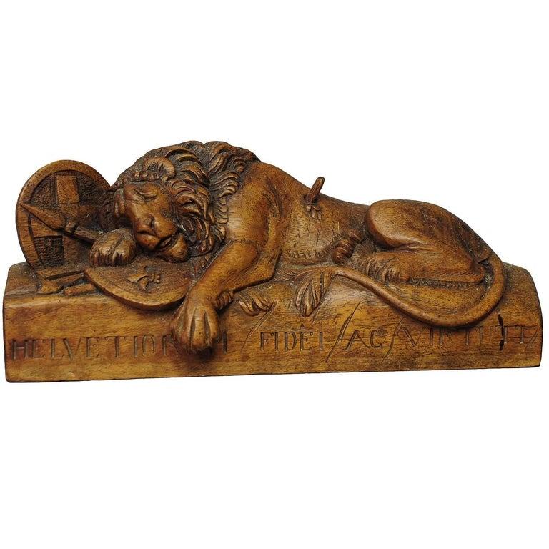 Antique Wooden Sculpture of the Lion of Lucerne