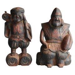 Antique Wooden Sculptures of Japanese Gods / Buddha Statues / Edo-Meiji Period