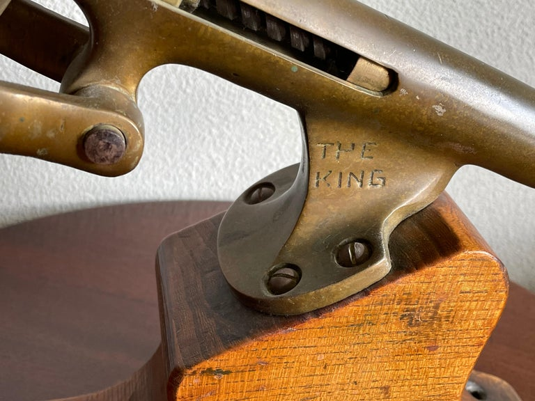 Industrial Antique Wooden & Solid Brass Bar Corkscrew for Wine Collectors, Marked The King For Sale