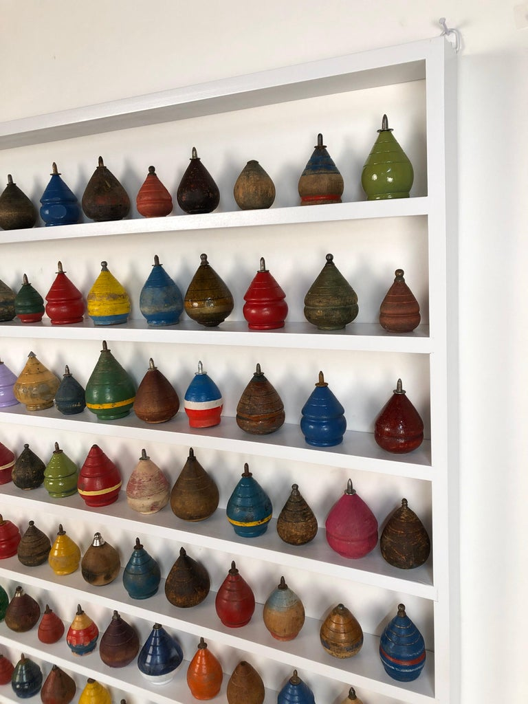 Folk Art Antique Wooden Spinning Top Collection in Custom Made Wood Display For Sale