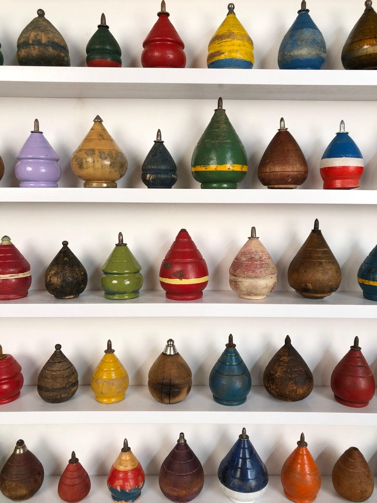 American Antique Wooden Spinning Top Collection in Custom Made Wood Display For Sale