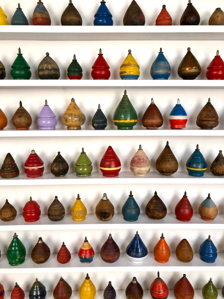 Antique Wooden Spinning Top Collection in Custom Made Wood Display For Sale 2