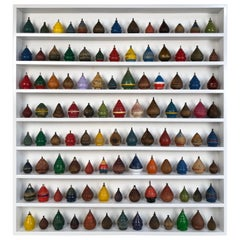Antique Wooden Spinning Top Collection in Custom Made Wood Display