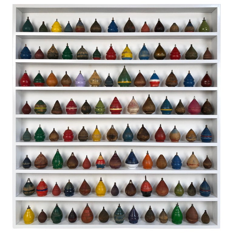 Antique Wooden Spinning Top Collection in Custom Made Wood Display For Sale