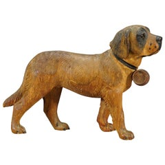 Antique wooden St. Bernhard dog carving, Brienz, ca. 1930