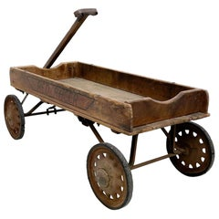 Antique Wooden Wagon Red Racer American 1930s Original Condition