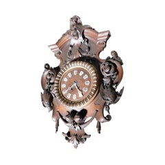 Antique Wooden Wall Clock, Brown Richly Decorated, 1800, Italy