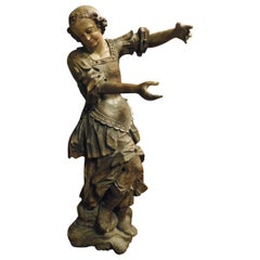 Antique Wooden Walnut Sculpture Brown Patina Lacquered, Hand Carved, 1500, Rome